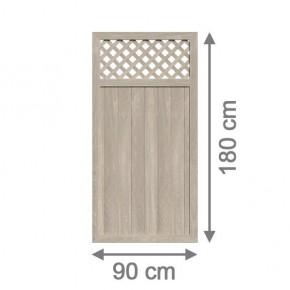 TraumGarten Sichtschutzzaun Kunststoff Longlife Riva Rechteck mit Gitter polareiche - 90 x 180 cm