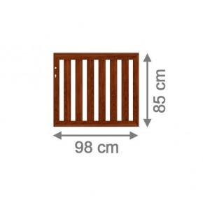 TraumGarten Vorgartenzaun Longlife Cleo Einzeltor DIN LI/RE braun - 98 x 85 cm