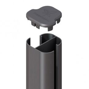 TraumGarten Zaunpfosten System Eck-Steckpfosten Set anthrazit zum Erdverbau - 7 x 7 x 298 cm