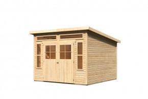 Karibu Holz-Gartenhaus Tinkenau 8 - 19 mm Pultdach Schraub- Stecksystem - naturbelassen