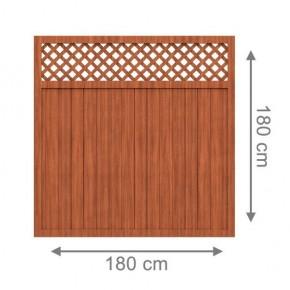 TraumGarten Sichtschutzzaun Kunststoff Longlife Riva Rechteck mit Gitter braun - 180 x 180 cm