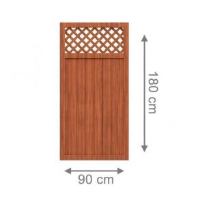 TraumGarten Sichtschutzzaun Kunststoff Longlife Riva Rechteck mit Gitter braun - 90 x 180 cm
