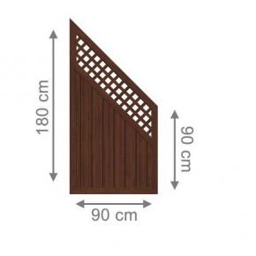 TraumGarten Sichtschutzzaun Kunststoff Longlife Riva Anschluss mit Gitter nussbaum - 90 x 180 auf 90 cm