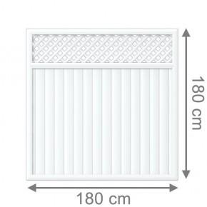 TraumGarten Sichtschutzzaun Kunststoff Longlife Riva Rechteck mit Gitter weiß - 180 x 180 cm