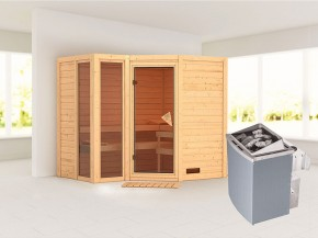 Karibu 40mm Comfort Massivholzsauna Amara - Eckeinstieg - Ganzglastür bronziert - 2 große Fenster - ohne Dachkranz - 9kW Saunaofen mit integr. Steuerung