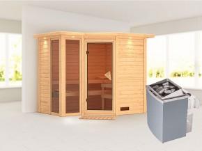 Karibu 40mm Comfort Massivholzsauna Amara - Eckeinstieg - Ganzglastür bronziert - 2 große Fenster - mit Dachkranz - 9kW Saunaofen mit integr. Steuerung