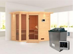 Karibu 40mm Comfort Massivholzsauna Amara - Eckeinstieg - Ganzglastür bronziert - 2 große Fenster - mit Dachkranz - 9kW Saunaofen mit externer Steuerung Easy