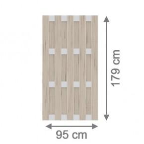 TraumGarten Sichtschutzzaun Jumbo WPC Aluminium-Design Rechteck sand 95 x 179 cm