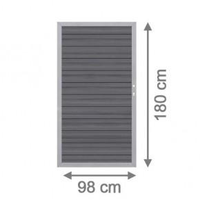TraumGarten Gartentor System WPC Platinum DIN rechts grau / silber - 98 x 180 cm
