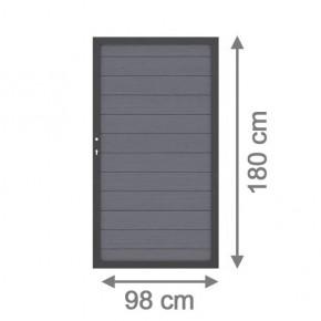TraumGarten Gartentor System WPC DIN links anthrazit / anthrazit - 98 x 179 cm