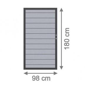 TraumGarten Sichtschutzzaun System WPC Tor DIN rechts grau / anthrazit - 98 x 179 cm