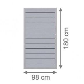 TraumGarten Gartentor System WPC DIN rechts grau / silber - 98 x 179 cm