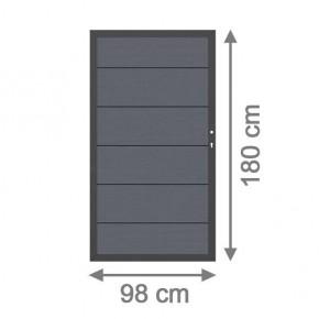 TraumGarten Sichtschutzzaun System WPC XL Tor DIN rechts anthrazit / anthrazit - 98 x 179 cm