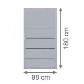 TraumGarten Gartentor System WPC XL DIN links grau / silber - 98 x 179 cm