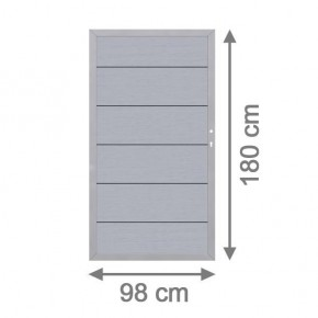 TraumGarten Gartentor System WPC XL DIN rechts grau / silber - 98 x 179 cm