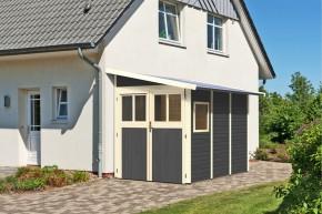 Karibu Holz-Gartenhaus Wandlitz 3 Anlehngartenhaus - 19 mm Wandstärke (dreiwandig)  - terragrau