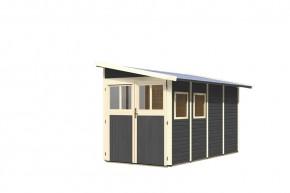 Karibu Holz-Gartenhaus Wandlitz 4 Anlehnhaus - 19 mm Wandstärke( dreiwandig)  - terragrau