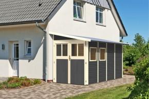 Karibu Holz-Gartenhaus Wandlitz 4 Anlehngartenhaus - 19 mm Wandstärke (dreiwandig)  - terragrau