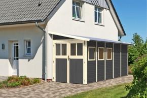 Karibu Holz-Gartenhaus Wandlitz 5 Anlehngartenhaus - 19 mm Wandstärke( dreiwandig)  - terragrau