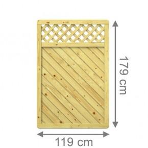 TraumGarten Sichtschutzzaun Nadelholz Gada Rechteck mit Gitter kdi - 119 x 179 cm