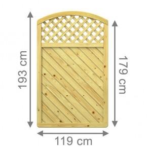 TraumGarten Sichtschutzzaun Nadelholz Gada Rundbogen mit Gitter kdi - 119 x 179 (193) cm