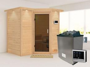 Karibu 40mm Comfort Massivholzsauna Sahib 1 - Eckeinstieg - Ganzglastür graphit - mit Dachkranz - 9kW Saunaofen mit externer Steuerung Easy