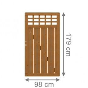 TraumGarten Sichtschutzzaun Como Tor mit Gitter braun lasiert - 98 x 179 cm