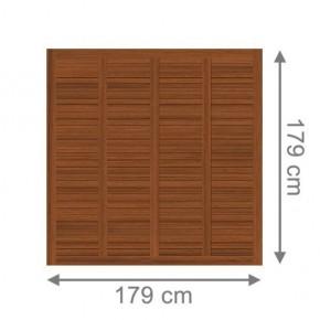 TraumGarten Sichtschutzzaun Holz Grazia Rechteck braun lasiert - 179 x 179 cm