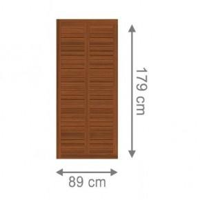 TraumGarten Sichtschutzzaun Holz Grazia Rechteck braun lasiert - 89 x 179 cm