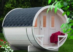 Wolff Finnhaus Saunafass 280 vormontiert - inkl. roten Dachschindeln - Gartensauna Ø200 x 280 cm