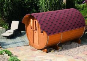 Wolff Finnhaus Saunafass 330 vormontiert - inkl. roten Dachschindeln - Gartensauna Ø200 x 330 cm