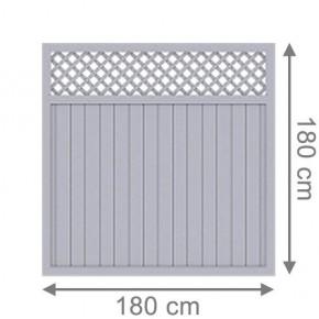 TraumGarten Sichtschutzzaun Kunststoff Longlife Riva Rechteck mit Gitter grau - 180 x 180 cm