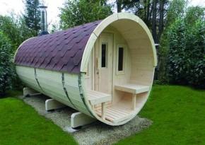 Wolff Finnhaus Saunafass 400 vormontiert - inkl. roten Dachschindeln - Gartensauna Ø200 x 400 cm