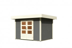 Karibu Holz-Gartenhaus Multi Cube 3 Flachdach 28 mm System - terragrau inkl. EPDM Folie