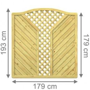TraumGarten Sichtschutzzaun Gada Krone mit V-Gitter kdi - 179 x 179 (193) cm