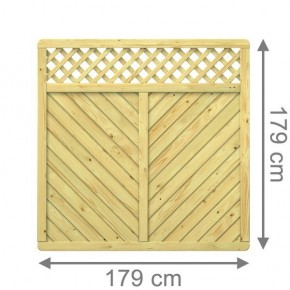 TraumGarten Sichtschutzzaun Gada Rechteck mit Gitter kdi - 179 x 179 cm