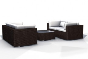 Rattan XXL Loungemöbel Set Espace Start 2 - 5-teilig - Farbe: dunkelbraun