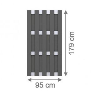 TraumGarten Sichtschutzzaun Jumbo WPC Aluminium-Design Rechteck anthrazit 95 x 179 cm