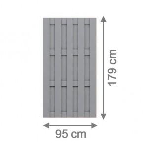 TraumGarten Sichtschutzzaun Jumbo WPC Rechteck grau - 95 x 179 cm