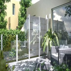 TraumGarten Sichtschutzzaun System Glas Klar Rechteck - 120 x 180 x 0,8 cm