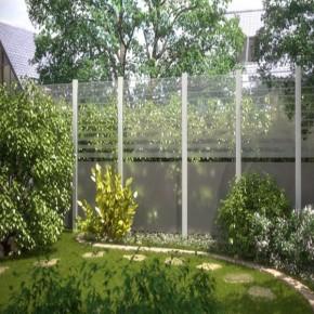 TraumGarten Sichtschutzzaun System Glas Beta Anschluß links - 90 x 180/90 x 0,8 cm
