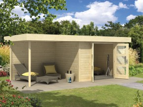 Wolff Finnhaus 28mm Holz-Gartenhaus Calais mit Flachdach und Anbau - naturbelassen