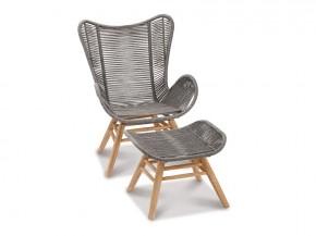 Best Relax-Lounge-Sessel Asmara - Ohrensessel mit Fußhhocker - Eukaltyptus/Gurt