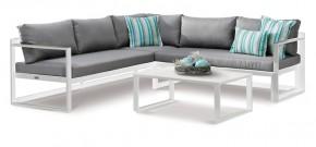 Best Lounge-Gruppe Rhodos 3-tlg. - 212x212 cm - Aluminium/Sensotex - weiß/grau - verstellbares Kopfelement
