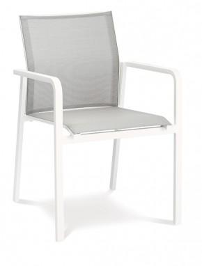 Best Stapelsessel Rhodos - Dining-Sessel mit Alu-Armlehne - Aluminium/Ergotex in weiß/grau