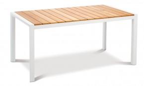 Best Gartentisch Paros - Dining-Teakholz Tisch - rechteckig - Aluminium/Teakholz - weiß/Teakholz - 160 x 90 x 76 cm