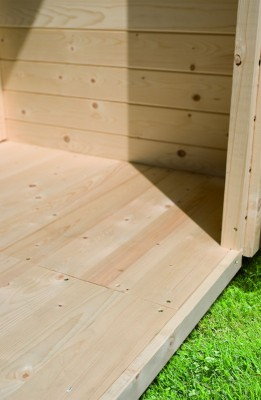 Woodfeeling Karibu Holz-Gartenhaus Fußboden für Sockelmaß 2,42m x 2,42 m in naturbelassen (unbehandelt)