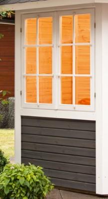 Wolff Finnhaus Gartenpavillon Palma Doppelfenster im Tausch