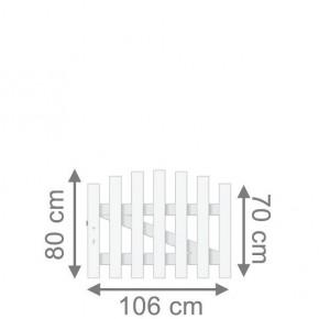 TraumGarten Vorgartenzaun Longlife Cara Tor rund DIN LI weiß - 106 x 70 cm