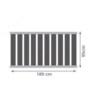 TraumGarten Vorgartenzaun Raja Alu WPC XL Set anthrazit - 180 x 95 cm